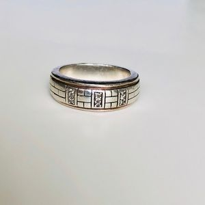 Silver 925  unisex ring with natural diamonds